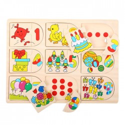 Developing wooden toy Big Jigs Picture and Number Matching Puzzle BJ535