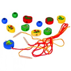 Wooden educational toy - lacing Bino Beads With String 80010