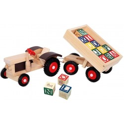 Wooden educational toy Bino Tractor With ABC Trailer 82077