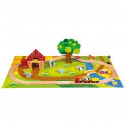 Wooden educational toy Bino Wooden Railway Set Country 82206