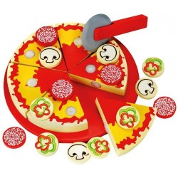 Wooden kitchen set Bino Cut and play pizza 83412