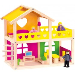 Wooden toy Bino Doll House with furniture 83553