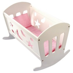 Wooden toy Bino Doll Cradle With Bedding 83699