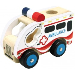 Wooden educational toy car Bino Holzauto Ambulanz 84081