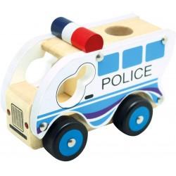 Wooden educational toy car Bino Holzauto Polizei 84082