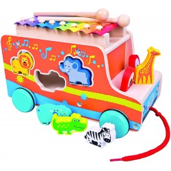 Wooden educational toy Bino Pull Car with Xylophone 84088