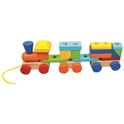 Wooden educational toy Bino Train with 2 Wagons 84089