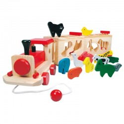 Wooden educational toy Bino Zoo Train With Animals 84166