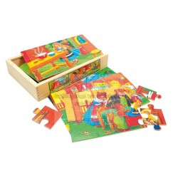 Wooden game Bino 6 Puzzles In Box Fairy Tale 88013