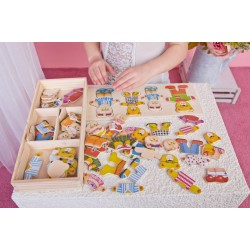Wooden game Bino Puzzle Put on Clothing Family 88016