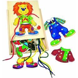 Wooden educational toy - lacing Bino Threading Box Leo 88102