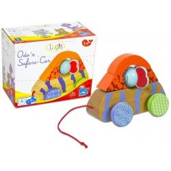 Wooden educational toy car Beluga Lugis Wooden Pull Figure Safari Car Elephant 60126