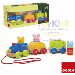 Wooden educational toy Goula Train with Animals 55213