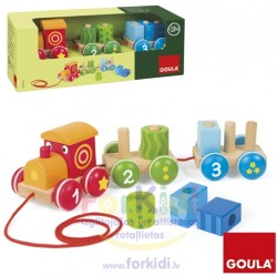 Wooden educational toy Goula Train with 6 puzzle 55216