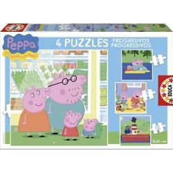 Puzzles for kids Educa Borras Puzzles Progressive Peppa Pig 6 - 9 - 12 - 16 pcs 15918