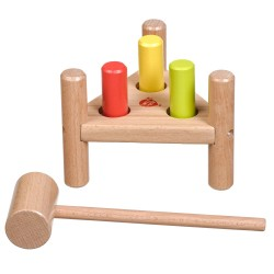 """Wooden educational toy knocker """"Triangle"""" Lucy&Leo Hammer and Pegs Toc Toc LL158"""