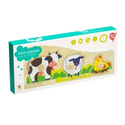 Wooden frame-insert (puzzle) Lucy & Leo Farm Animals Peg Puzzle LL189