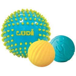 Balls set Ludi PACK OF 3 BLUE SENSORY BALLS Ludi 30021